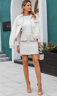 Sophisticated Lady White Brown Plaid Pattern Boucle Texture High Waist Zip Front Pearl Button Mini Skirt - Sold Out