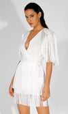 Storybook Princess White Short Sleeve Sheer Mesh Dot Ruffle Tier High Neck Tie Waist Flare A Line Mini Dress