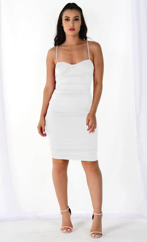 Sultry Siren White Satin Sleeveless Spaghetti Strap V Neck Ruched Bodycon Mini Dress - 2 Colors Available
