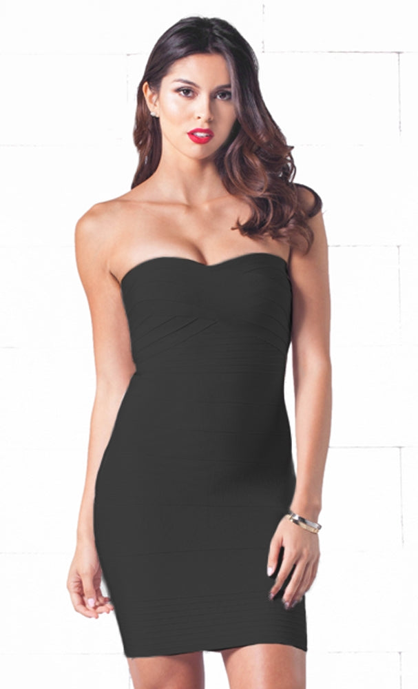 Indie XO After Hours Black Sweetheart Neck Bandage Style Strapless Body Con Fitted Mini Dress - Just Ours!