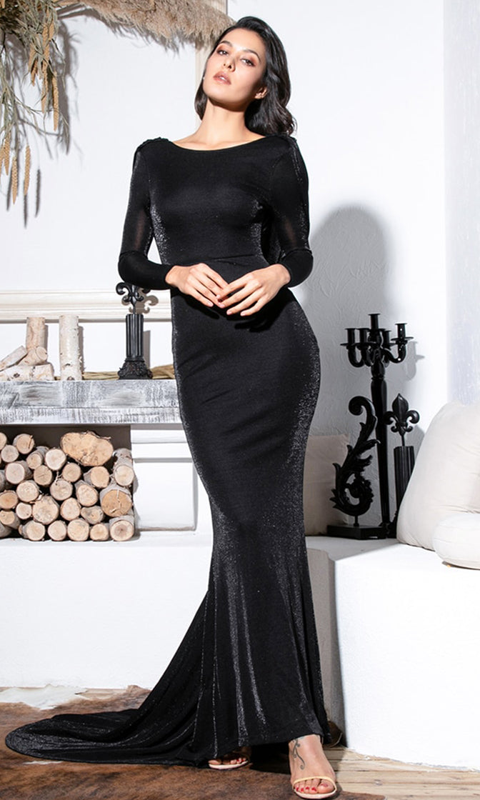 Heads Above The Rest Black Glitter Long Sleeve Boat Neck Draped Open Cowl Back Mermaid Maxi Dress
