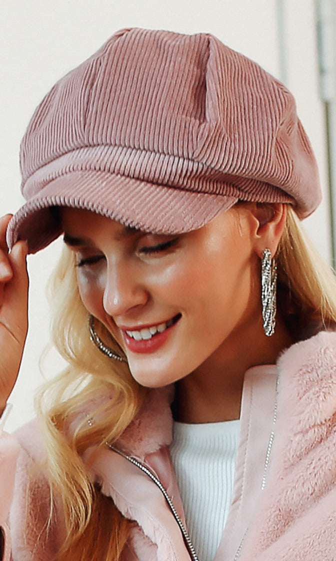Peak Perfection Corduroy Panel Short Brim Beret Hat - 5 Colors Available
