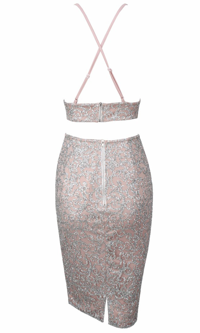 One More Dance Silver Nude Glitter Sleeveless Spaghetti Strap V Neck Crop Top Bodycon Midi Two Piece Dress