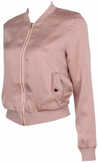 Play It Safe Nude Long Sleeve Zipper Bomber Jacket