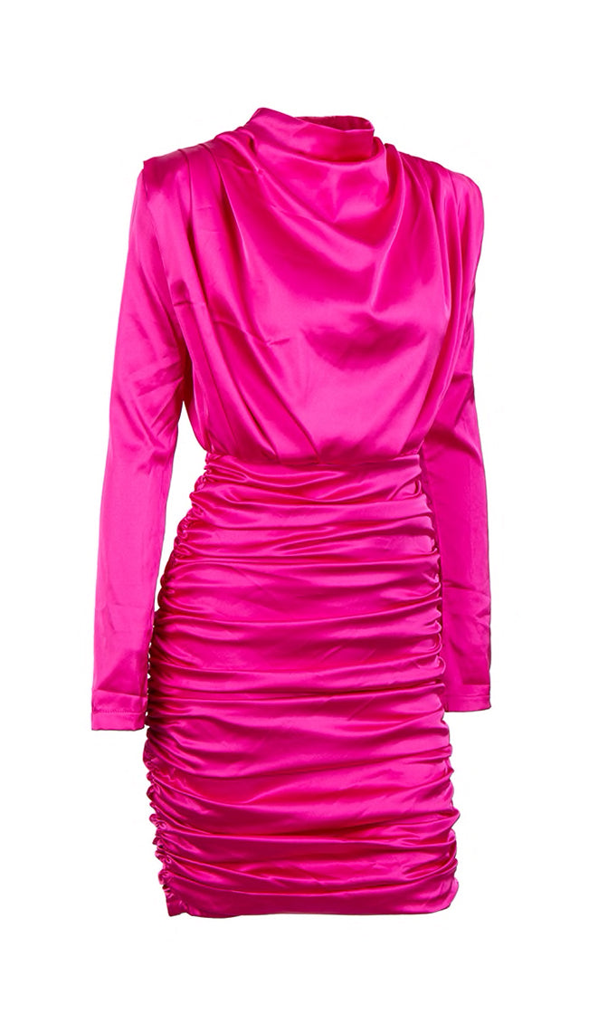 Thank You, Next Satin Silky Long Sleeve Drape Cowl Neck Mock Neck Ruched Mini Dress - 3 Colors Available