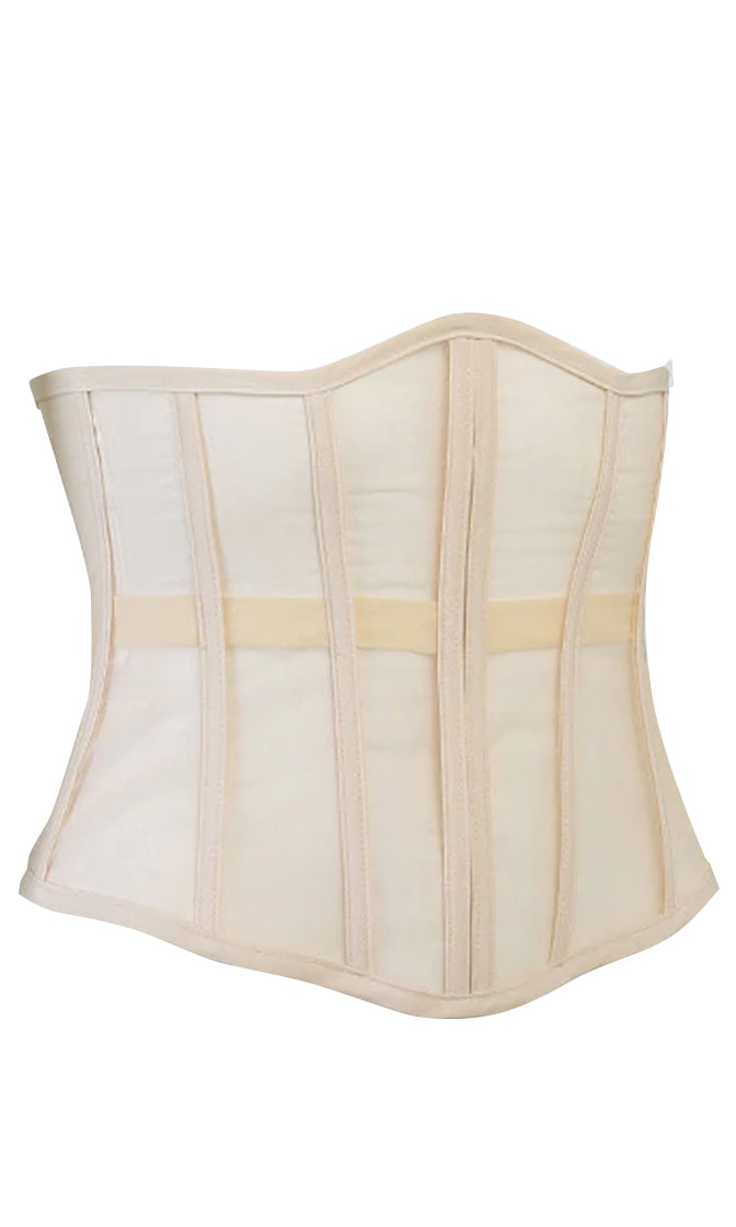 See My Swagger Strapless Sheer Mesh Boning Lace Up Back Waist Corset Top