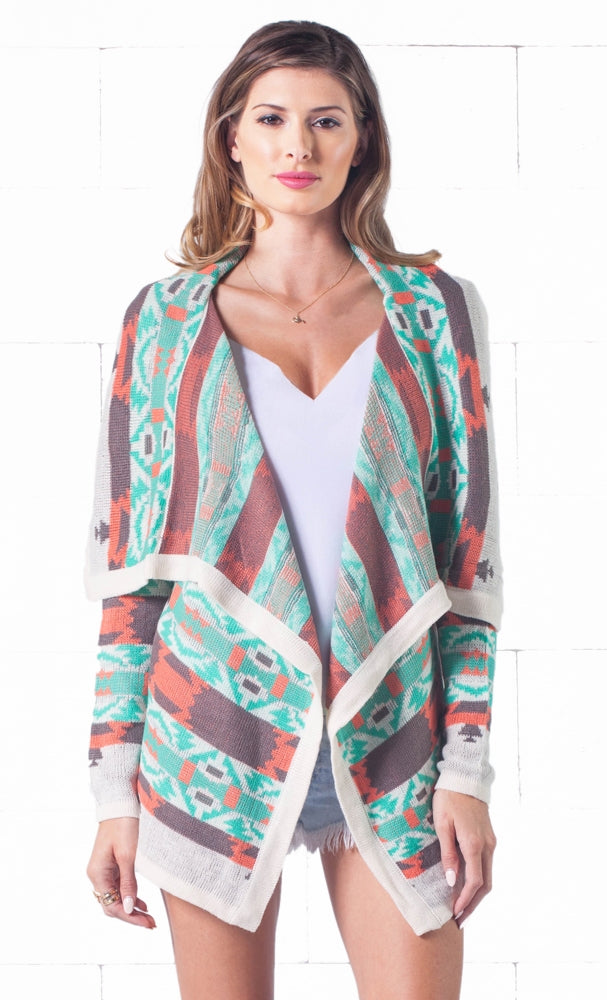Indie XO Open Road Ivory Mint Green Coral Aztec Tribal Open Drape Cardigan Knit Sweater - Just Ours! Sold Out