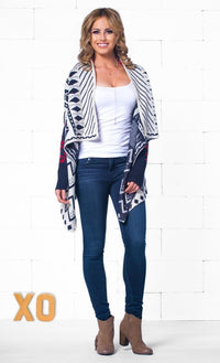 Indie XO Let It Snow Red White Blue Aztec Tribal Navajo Open Drape Cardigan Knit Sweater - Just Ours! - Sold Out