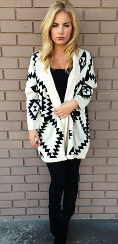 Ivory Black Aztec Tribal 3/4 Elbow Dolman Open Drape Ribbed Cardigan Sweater - Sold Out