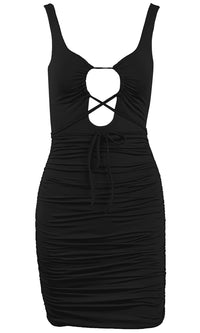 Midnight Intrigue Sleeveless Plunge V Neck Lace Up Ruched Bodycon Mini Dress