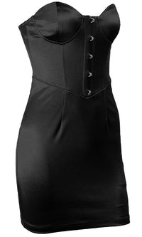 Midnight Moment Strapless Bustier Hook Closure Bodycon Mini Dress