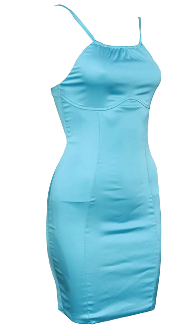 Roll With You Satin Sleeveless Spaghetti Strap Halter Round Neck Bodycon Mini Dress