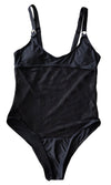 Don't Miss A Spot Black Sheer Mesh Polka Dot Pattern One Piece Thong Swimsuit- 2 Colors Available
