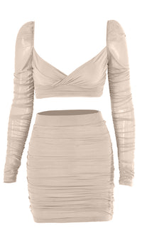 Just A Peek Sheer Mesh Ruched Long Sleeve Cross Wrap V Neck Crop Top Bodycon Two Piece Mini Dress