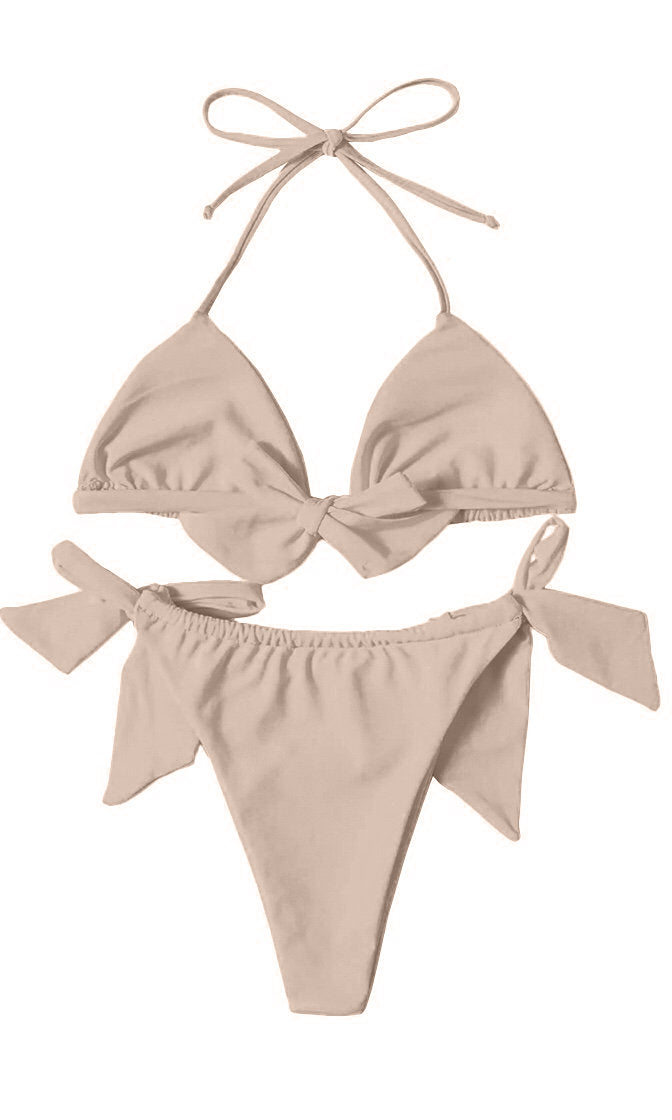 Harbor Lights Beige Spaghetti Strap Triangle Halter Top High Cut Thong Bikini Two Piece Swimsuit