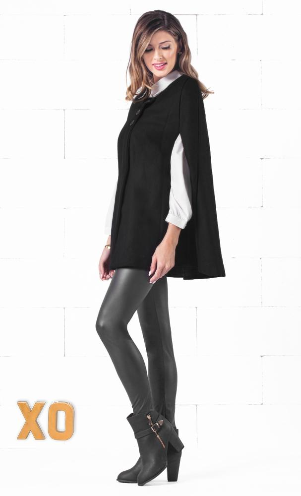 Indie XO Take Me On Black Batwing Cape Wool Poncho Jacket Winter Warm Outerwear Cloak Coat - Just Ours!