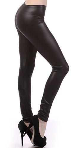 Matte Finish Faux Vegan Leather Liquid Black Leggings - Sold Out
