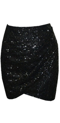 Glittery Black Sequined High Waist Tulip Hem Wrap Mini Skirt - Sold Out