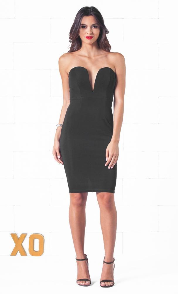 Indie XO Vanity Fair Black Plunging Sweetheart Neck Sleeveless Fitted Midi Dress - Just Ours! - Sold Out