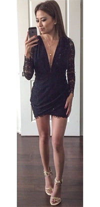 Sexy Black Plunging V Neck Cut Out Zip Back Lace Long Sleeve Mini Dress - Sold Out