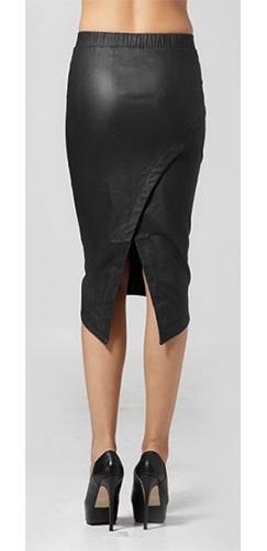 Hot Black Faux Veagn Leather Front Stretchy Wrap Back Asymmetric Midi Pencil Skirt NWT - Sold Out