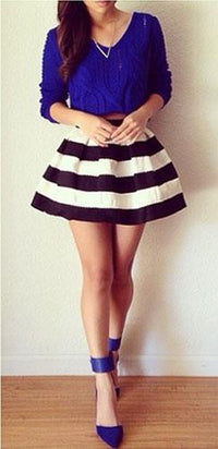 High Waisted Black & White Striped Two Toned Stretchy Bell Flare A Line Structured Bandage Mini Skirt - Sold Out