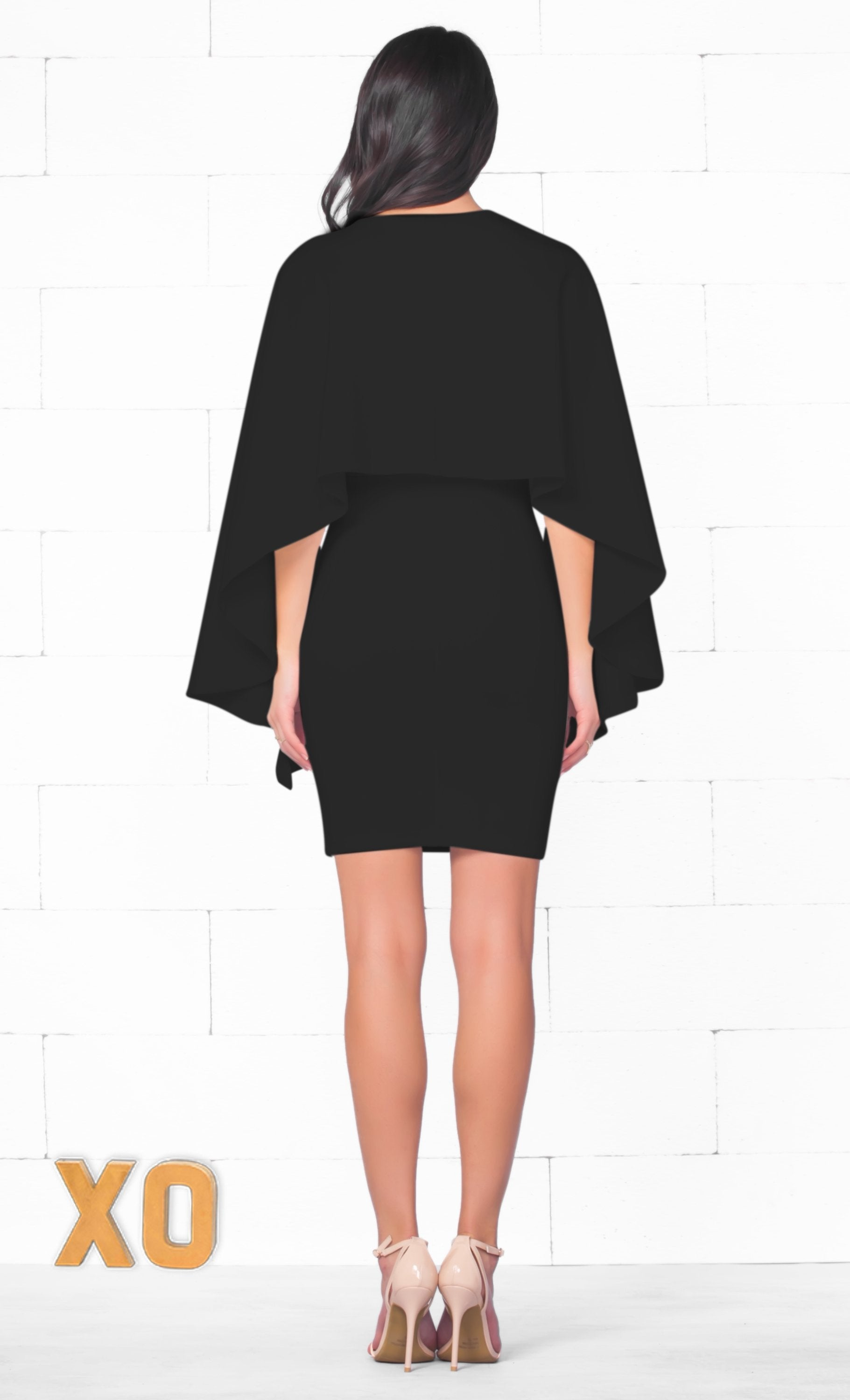 Indie XO Simply Irresistible Black Long Split Sleeve Deep V Neck Bodycon Cape Mini Dress - Just Ours! Sold Out