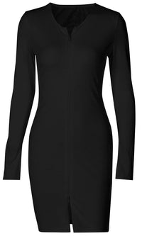 Just This Once Long Sleeve Round Neck Front Double Zipper Bodycon Casual Mini Dress