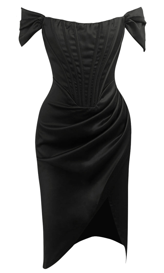 Mysterious Lover Black Satin Draped Off The Shoulder Short Sleeve Scoop Neck Cross Wrap Midi Dress