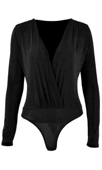 Crossing Over Long Sleeve Drape Cross Wrap V Neck Bodysuit Top