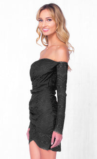 Indie XO Infinite Love Black Lace Sweetheart Off The Shoulder Long Sleeve Ruched Gathered Wrap Tulip Fitted Mini Dress - Just Ours! Sold Out