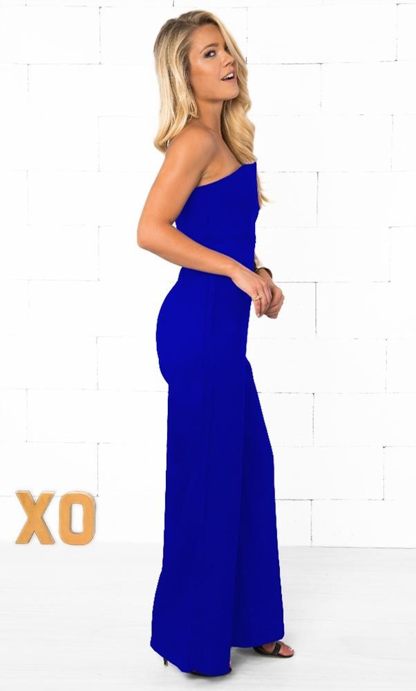Indie XO Take the Plunge Blue Sleeveless Strapless Deep V Plunging Neck Fitted Full Wide Ankle Length Pants Jumpsuit - Just Ours! - Sold Out