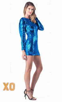 Indie XO Sparkling Night Blue Sequin Long Sleeve Open Draped Backless Bodycon Dress - Just Ours! - Out of Stock