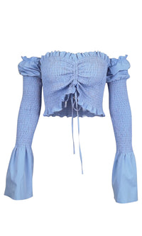 Out For Me Smocked Long Sleeve Flare Cuff Ruched Sweetheart Neckline Crop Top Blouse