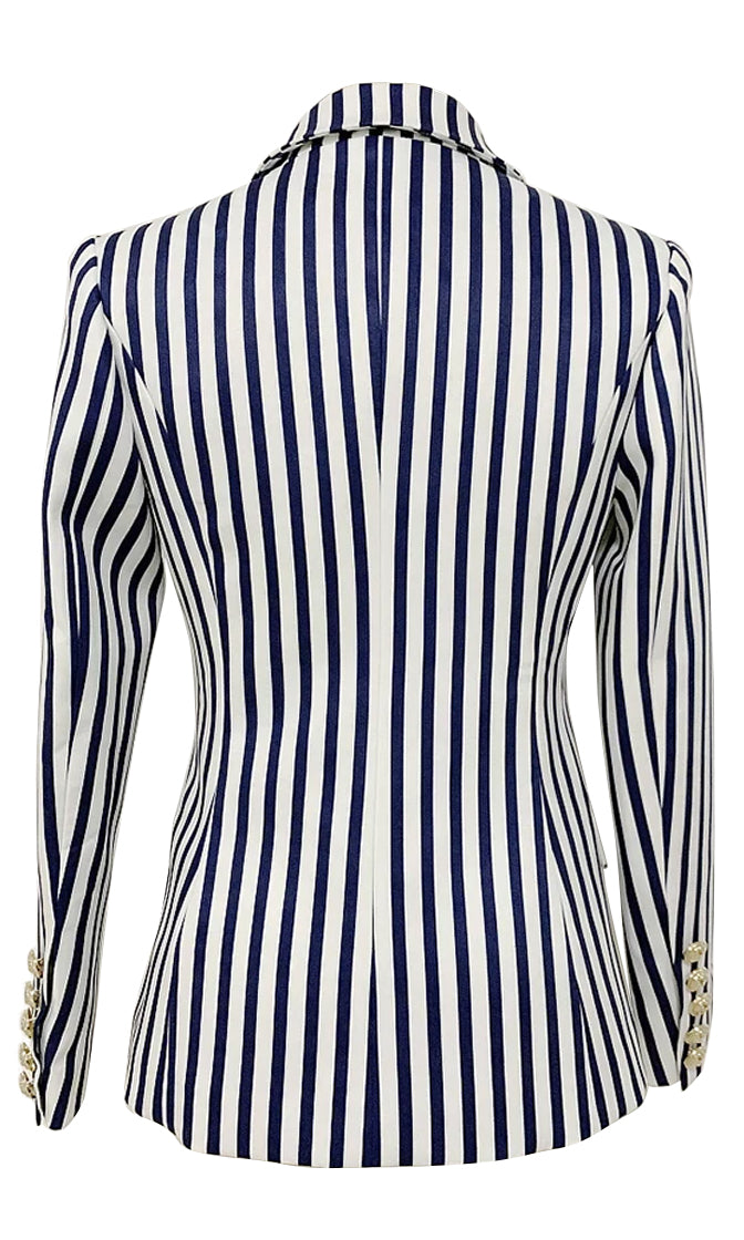 Ahoy Sailor Blue White Striped Pattern Long Sleeve Double Breasted Blazer Gold Button Jacket Coat Outerwear