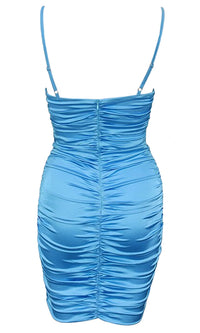 Good Time Sleeveless Bustier Satin Spaghetti Strap V Neck Cut Out Ruched Drawstring Bodycon Mini Dress