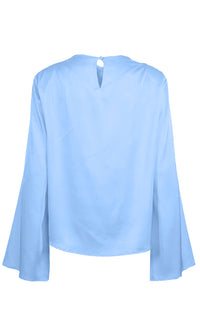 Master Of Style Long Bell Sleeve Round Neck Draped Keyhole Back Blouse Top