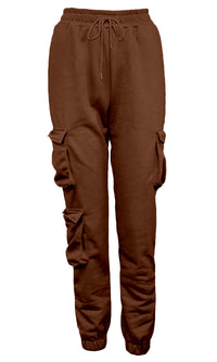 Getting On With It Elastic Waist Drawstring Double Cargo Pocket Loose Sweatpants