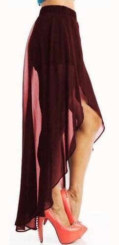 Burgundy Wine Chiffon High Low Flowy Open Front Maxi Skirt Elastic Shorts - Sold Out