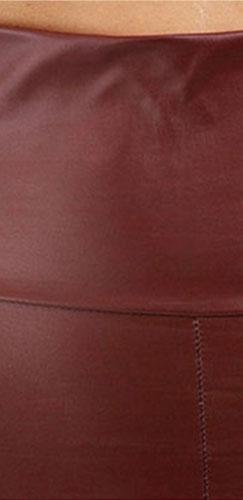High Waisted Burgundy Wine Ox Blood Faux Leather Full Length Leggings