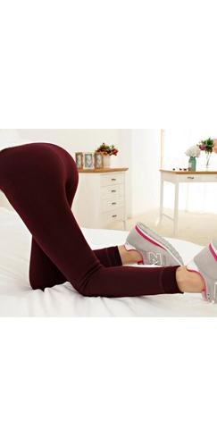 Burgundy Wine Faux Velvet Thick Knitted Winter Warm Slim Legging Pants - Sold Out