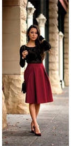 Burgundy Wine High Waist Knee Length Flare A Line Pleated Midi Skirt - Sold Out
