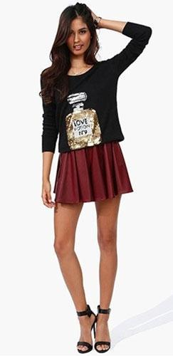 Burgundy Red Flowy Faux Vegan Leather Skater Skirt Elastic Waist Mini Edgy - Sold Out
