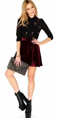 Burgundy Wine Velvet Flared Skater Mini Skirt Elastic Defined Waist Stretchy - Sold Out