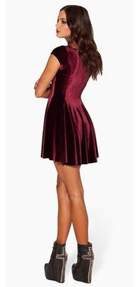 Burgundy Mulled Wine Velvet Scoop Neck Sleeveless Fitted Pleated Bell Flare Skater Mini Dress - Sold Out