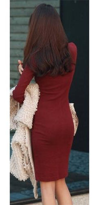 Burgundy Wine Turtleneck Long Sleeve Stretchy Fitted Pencil Midi Dress - Sold Out