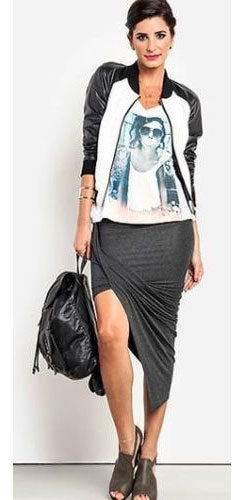 Charcoal Grey Gray Twisted Draped High Low Asymmetric Hem Stretch Midi Maxi Skirt  -  Out of Stock!!