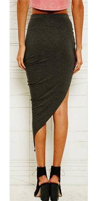 Charcoal Grey Twisted Draped High Low Mini Maxi Skirt Asymmetrical Stretchy - Sold Out