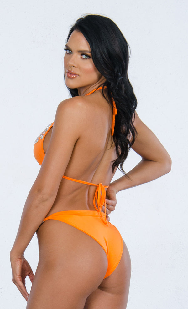 8147a3cea1 Indie XO Love At First Sight Orange Crystal Chain Beaded Gemstone Spaghetti  Strap Triangle Halter Plunge