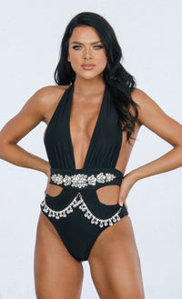 Shake It Off Khaki Brown Rhinestone Beaded Bling Crystal Chain V Neck Monokini One Piece Swimsuit - Sold Out